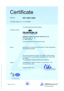 Iso 14001 - durable gains the official eco-standard